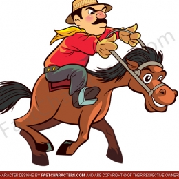 Horse and cowboy mascots