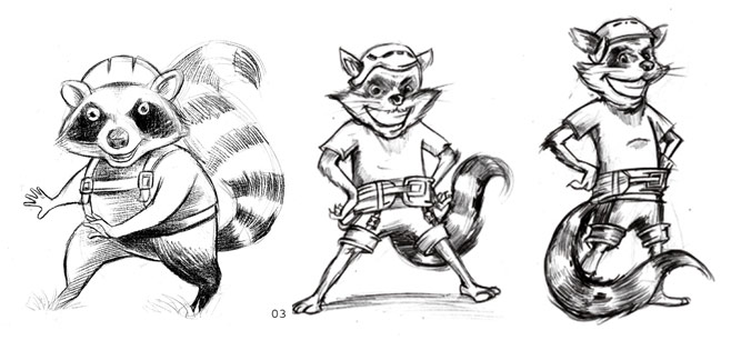 Mascot design sketches of Rocky the Racoon