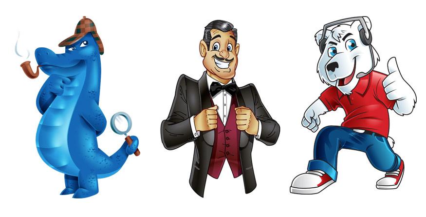 Crocodile mascot, tuxedo and bear mascot