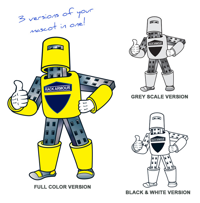 "Final ""Rack Armour Man"" with all color versions."