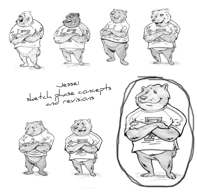 "Cartoon mascot design sketches of ""Jesse""."