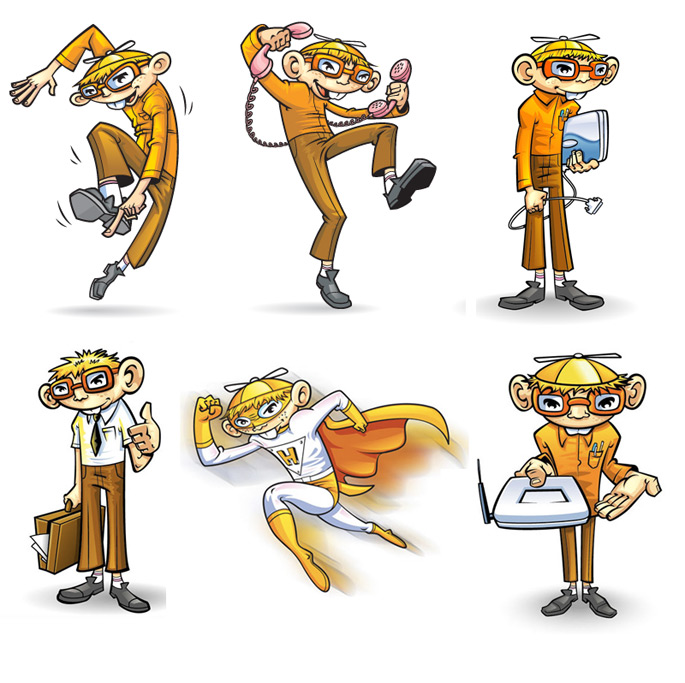 Multiple cartoon mascot poses from same character