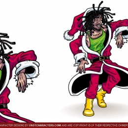 Cartoon Rasta Santa Character Design