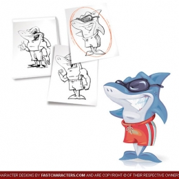 Cartoon Shark Character Design