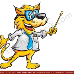 Cat professor mascot design