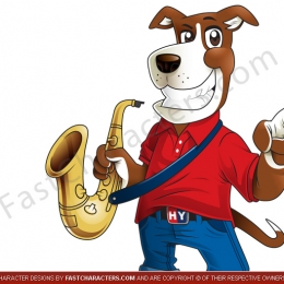 Dog saxaphone mascot design