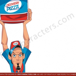 Pizza man mascot pose