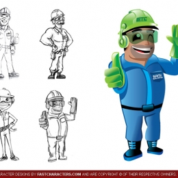 Cartoon Construction Worker Character Design