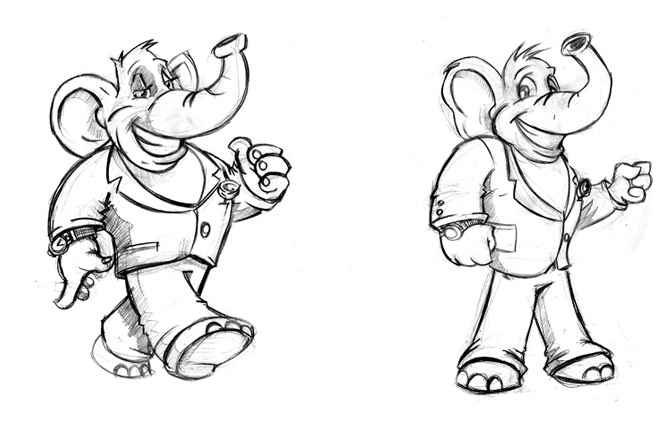 Concept sketches for elephant character design